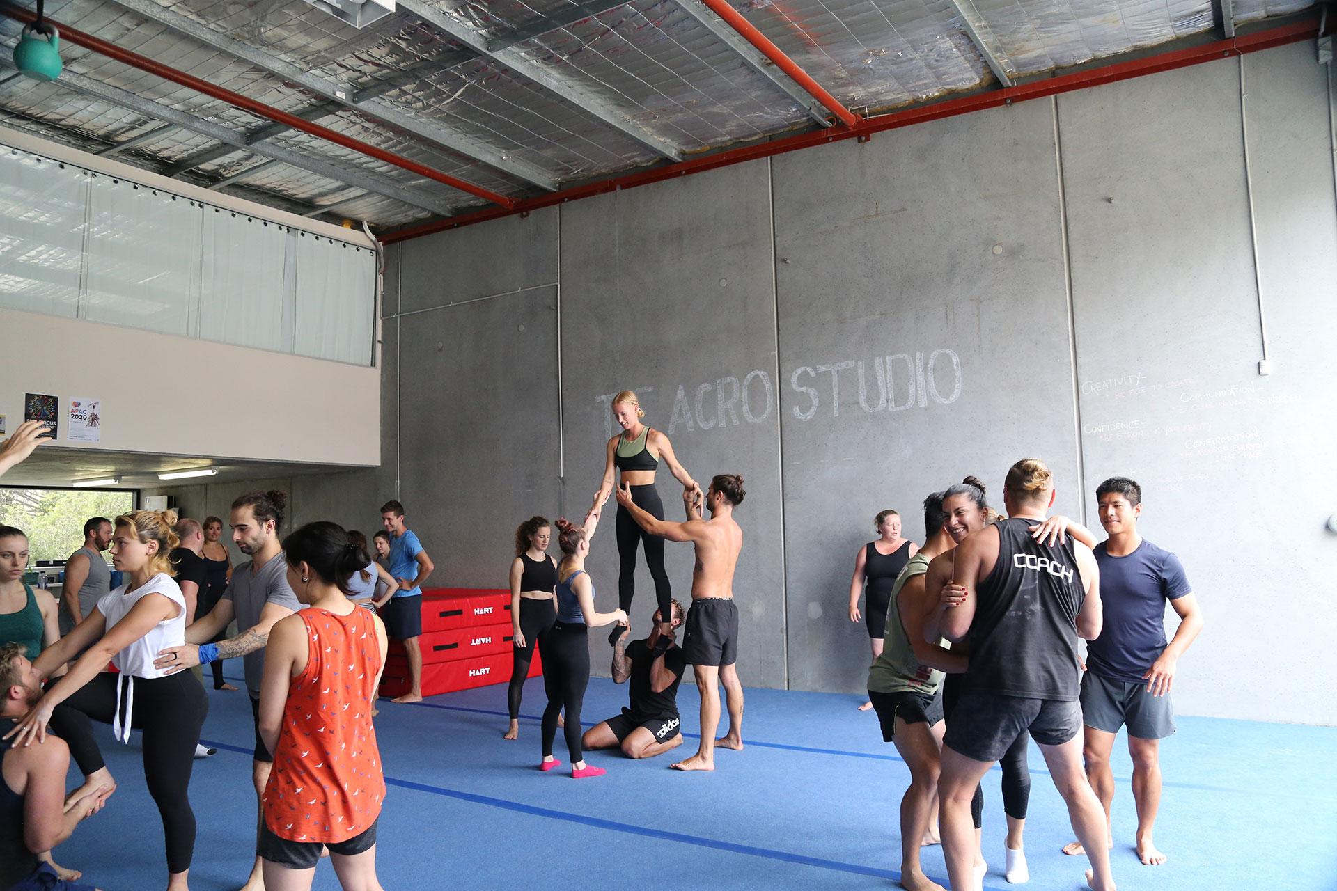 Teenagers Learning Acrobatics